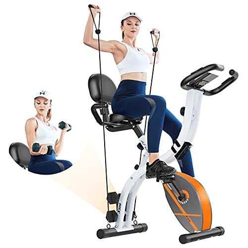 Afully Folding Exercise Bike Stationary Foldable Home Upright Recumbent Fitness Bike with Magnetic Resistance, Pulse…