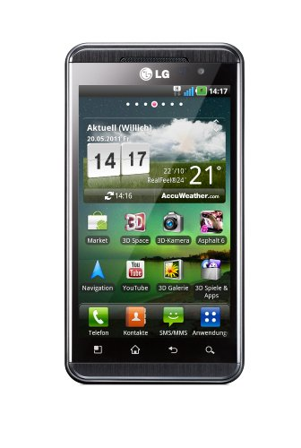 LG P920 Optimus 3D Smartphone (10,9 cm (4,3 Zoll) Display, Touchscreen, 5 Megapixel Kamera, Android OS) grauschwarz