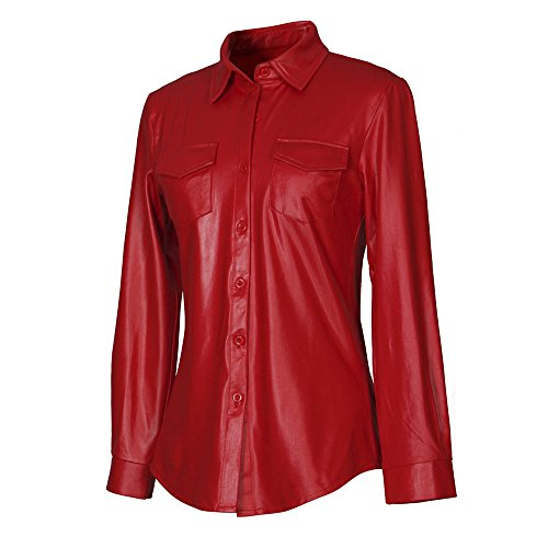 WomensShiny MetallicNightclub Styles Button Down Red Leather Shirt with Long Sleeves