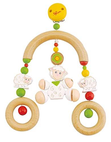 Bieco 44011033 cliphanger/trapeziumbed, hanger met bedy de schaap en 2 houten ringen als hanger, voor baby's vanaf de geboorte, wit