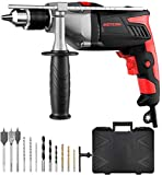 950W Hammer Drill, Meterk Impact Drill 2800RPM with 12 Drill Bit Sets, Storage Case, Rotating...