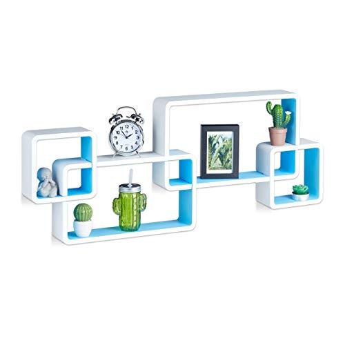 Relaxdays Wandregal Cube, Schwebend, Modernes Design, Dekorativ, Steckbar, 4 Würfel, MDF, HxBxT: 42x104x10cm, Weiß-Blau