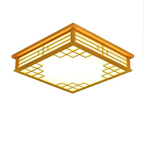 JINWELL Lámpara Colgante LED de Madera Lámpara Colgante de Comedor Cuadrado japonés Plafones Lámpara atenuadora LED de Techo Lámpara Decorativa de Ahorro de energía para el hogar Artesanía Delicada