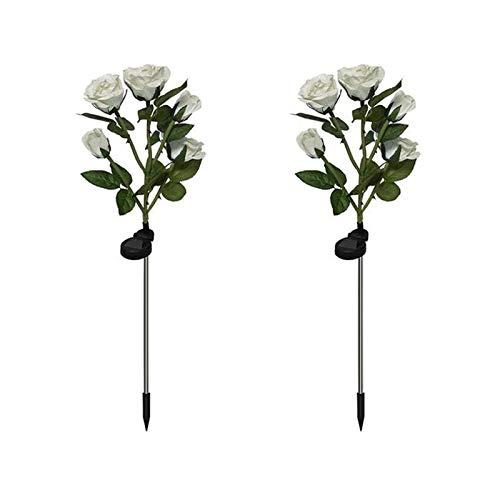 Luces solares Exterior Jardín, XVZ lámparas Decorativas LED Rosas Solares, impermeable lámpara solar con flor más grande y panel solar más ancho, para jardín césped terraza camino(blanco 2 paquetes)