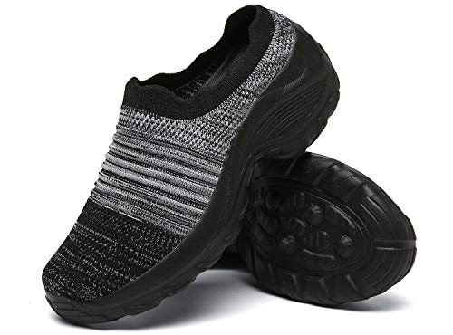 Zuecos de Cuña Mujer Transpirable Sandalias Plataforma Cómodo Ligero Casual Zapatillas para Caminar al Aire Libre,Negro/Gris,EU 36