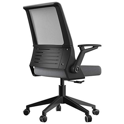 Verstellbarer Schreibtischstuhl FüR Zuhause mit Drehgelenk und RäDern, Home-Office-Stuhl aus Mesh, Ergonomischer BüRostuhl aus Mesh, BüRostuhl mit Armlehnen,Schwarz