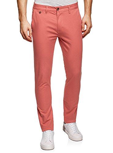 oodji Ultra Uomo Pantaloni Basic Chino, Rosso, 40