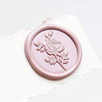 UNIQOOO Wild Rose Wax Seal Stamp | French Rose Botanical Flower Stamp Perfect for Wedding Invitation Cards Tags Envelope Snail Mail Xmas Gift Wrap Letter Sealing Wine Package DIY Project