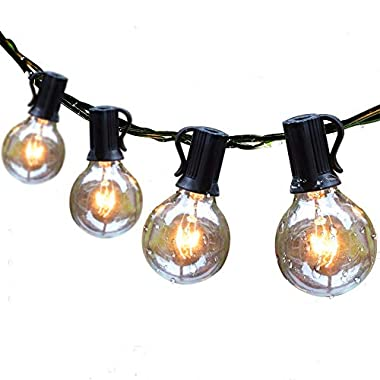 Guddl Globe String Lights with 27 Clear G40 Bulbs, Connectable Outdoor/Indoor Lights for Wedding Christmas Camping RV Garden Patio Gazebo Porch Pergola Bistro Backyard Balcony Deck, 25ft Black Wire
