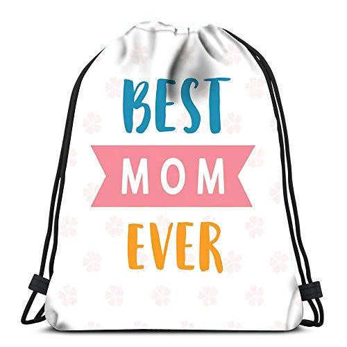 Gym Drawstring Backpack Sport Bag Best Mom Ever Geometric Planner Lightweight Shoulder Bags Travel College Rucksack for Women Men