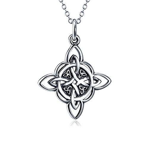 925 Sterling Silver Celtic Triquetra Trinity Knot Good Luck Pendant Rolo Chain Necklace for Women Birthday Gift, 18'