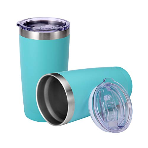 20 oz TumblerStainless Steel Vacuum Insulated Coffee Cup Double Wall Travel Mug with Lid for Cold amp Hot Drinks2 PackTurquoise