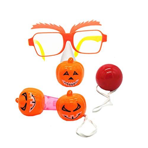 VALICLUD Juguetes de Halloween Gafas de Calabaza Silbato Nariz Falsa para Decoraciones de Fiesta de Halloween 1 Juego 4 Piezas