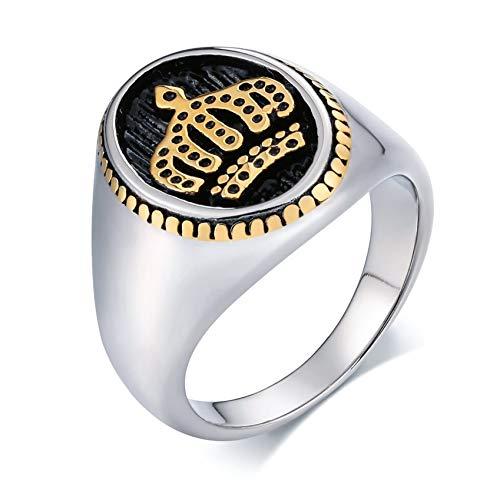 Ubestlove Siegelring Edelstahl Herren Edelstahl Damenring Edelstahl Breit Krone Oval Signet Ring Silber Gold 59