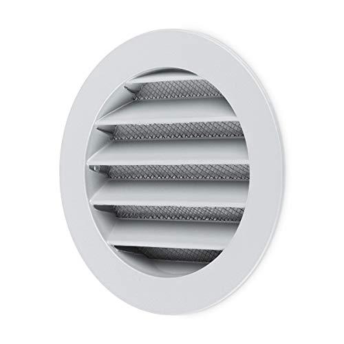 calimaero WSGG 100 mm Rund Wetterschutzgitter Silbergrau Flansch Insektenschutz Lüftungsgitter
