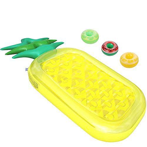 ThinkMax aufblasbare Ananas Pool Float für Erwachsene & Kinder, Riesen 76 'Pool Lounge Spielzeug für die Sommer Swim Party mit 3 Bonus Cup Holdern
