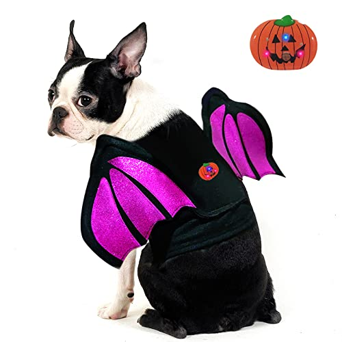 azuza Dog Costume Halloween Glitter Bat Wings for Dogs with Led Light Dog Costumes Cosplay Pet Party Dressing Clothes