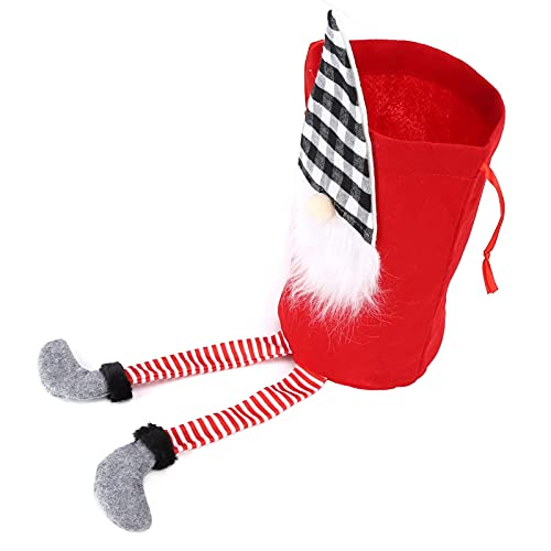 Sacola para presentes do Papai Noel, sacola para presentes festivos multifuncionais Sacos com cordão reutilizáveis para festas de Natal(vermelho)