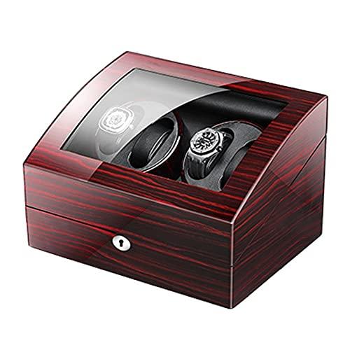 Cajón para guardar relojes y joyas Reloj automático Winder 4 + 6 Watch Winder Box Dual Power Fuente de PIANO PINTURA PINTURA EXTERIOR MOTOR SALIENTE MOTOR RELOJ FLEXIBLE ALMOW Estuche de almacenamient