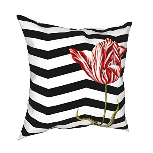 Uliykon Tulip Botanical Chevron - Fundas de cojín decorativas para sofá, dormitorio, coche, con cremallera invisible, 45,7 x 45,7 cm
