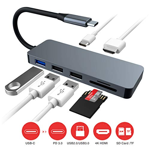 Concentrador USB C, Adaptador de concentrador Tipo C Multipuerto Lector de...