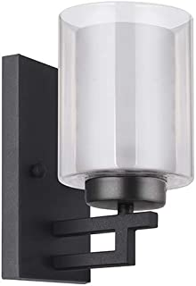 TENGXIN 1 Light Bathroom Vanity Wall Lamp with Glass Shade in Oil Rubbed Bronze,Up/Down Interior Wall Lamp,UL Listed