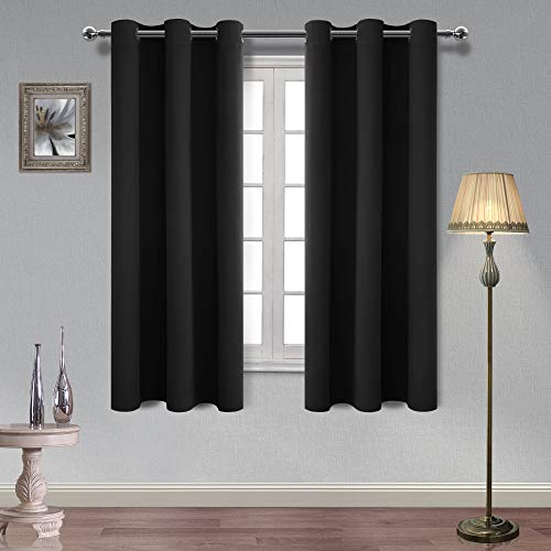 Hiasan Black Blackout Curtains for Bedroom Triple Weave Light Blocking, Thermal Insulated and Noise Reduction Window Curtains, 38 x 63 Inches Length, 2 Drape Panels