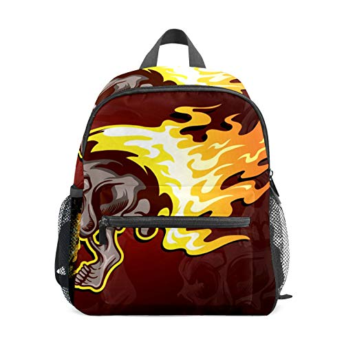 School Backpack for Kid Girls Boys,Student Bookbag Casual Daypack Travel Children Bag Organizer for Camping Hiking Gift Flaming Skull