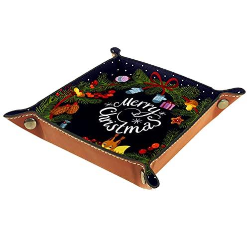 YATELI Caja de Almacenamiento pequeña, Bandeja de Valet para Hombre,Vector Verde Guirnalda de Navidad con Decoraciones,Organizador de Cuero para Llaves de Caja de Monedas