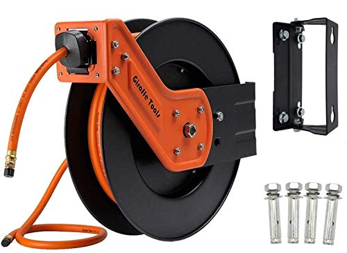 Giraffe Retractable Air Hose Reel Heavy Duty with 3/8 in. x 50 ft Hybrid Hose, 300 PSI, Industrial Wall Mounted Compressor Hose Reel with 180° Swivel Bracket