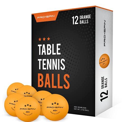 Pro Spin Pelotas de Ping Pong - Naranja - Pelotas 3* 40+ (Pack de 12) para Tenis de Mesa | Pelotas ABS de Alto Rendimiento y Durabilidad para Mesa de Ping Pong Interior/Exterior, Competición