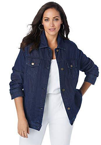 Jessica London Women's Plus Size Classic Cotton Denim Jacket 100% Cotton Jean Jacket - 12, Indigo