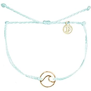 Pura Vida Gold or Rose Gold Wave OG Bracelet - Gold Plated Charm, Adjustable Band - 100% Waterproof