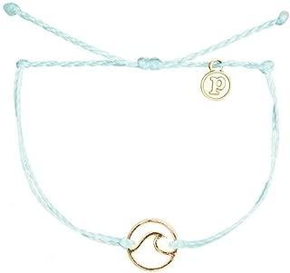 Pura Vida Gold or Rose Gold Wave OG Bracelet - Gold Plated Charm, Adjustable Band - 100% Waterproof