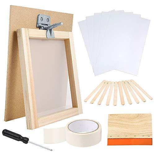 Caydo - Kit de 27 piezas de serigrafía para principiantes, incluye marco de impresión de seda de 20 x 25 cm con 110 malla blanca, marco de visualización, abrazadera de bisagra de mariposa y herramientas para serigrafía