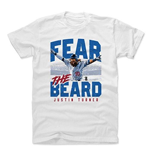 500 LEVEL Justin Turner Shirt (Cotton, Large, White) - Los Angeles Men's Apparel - Justin Turner Fear The Beard B