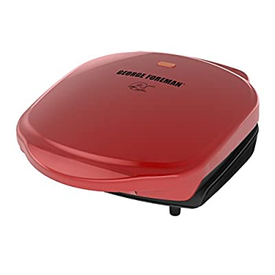 """George Foreman 2-Serving Classic Plate Electric Indoor Grill and Panini Press, Red, GR10RM,5.6 x 10 x 9.2"""""""