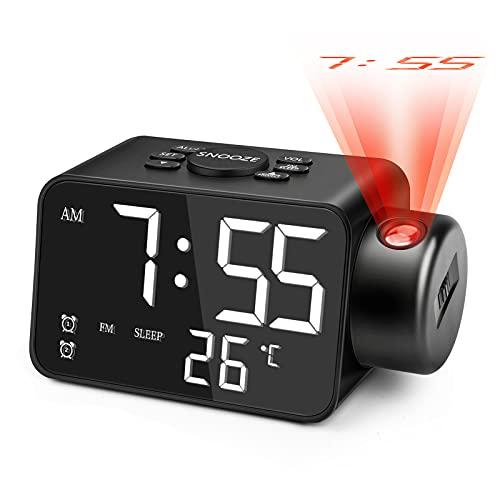 Jhua Proyección Reloj despertador Radio LED de 5.3 pulgadas, Proyector Digital Despertador para Dormitorio Techo Pared Radio FM, Despertador Despertador de 180° Proyección...