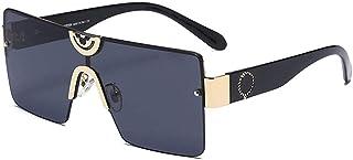 GODYS - Hombres europeos y americanos s gafas de sol de moda retro metal damas marco grande cara redonda gafas de sol-Gold_Frame_Black_and_Gray_Film