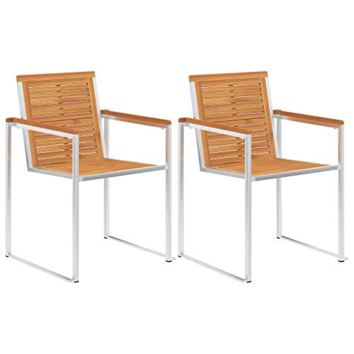 SKM Garden Chairs 2 pcs Solid Acacia Wood and Stainless Steel