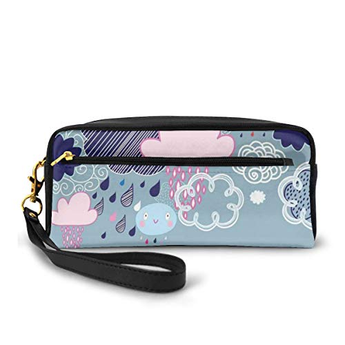 Pencil Case Pen Bag Pouch Stationary,Clouds with Smiley Faces and Ornate Motifs Happiness Fun Rainy Season Graphic Image,Small Makeup Bag Coin Purse