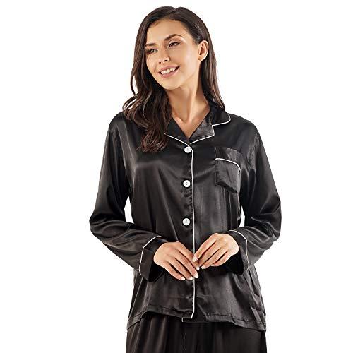 GAESHOW - Conjunto de pijama de satén de seda para mujer, de manga larga, ropa de dormir para todas las estaciones