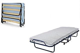 Folding bed & foam mattress, roll away bed with Castors, SANDVIKA single bed size 80 cm x 190 cm.