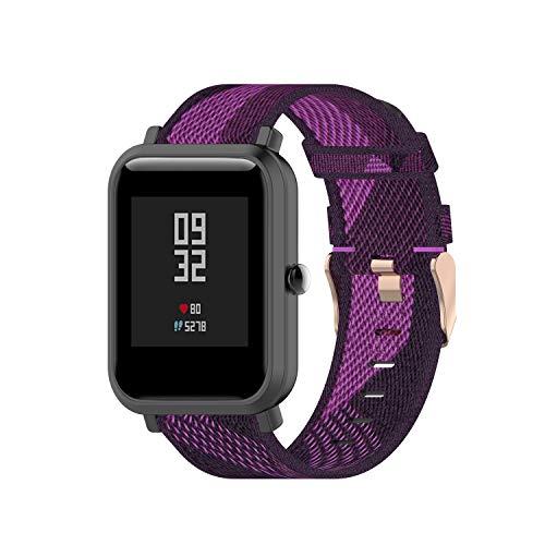 Angersi Bandas de Repuesto de Correa Deportiva de Nylon Suave compatibles con AMAZFIT bip Youth Lite/Huawei Watch GT2 42mm/Samsung Galaxy Watch 42mm/Galaxy Active/active2 40mm/44mm