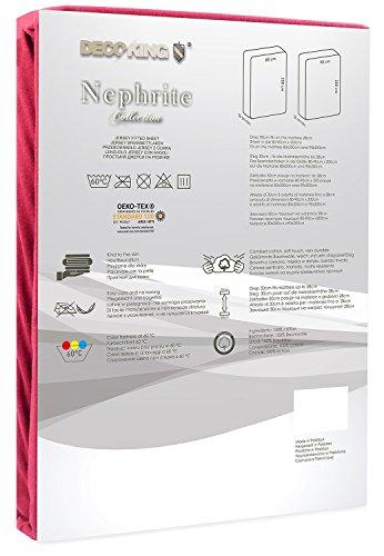 DecoKing 18804 80×200-90×200 cm Spannbettlaken Bordeaux 100% Baumwolle Jersey Boxspringbett Spannbetttuch Bettlaken Betttuch Maroon Nephrite Collection - 3
