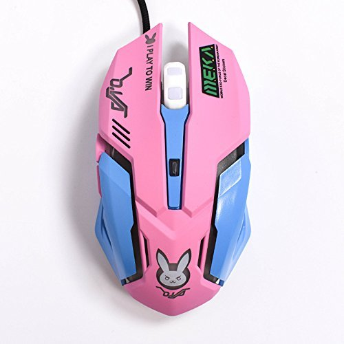 Gaming Mouse, Backlit Optical Game Mice Ergonomic USB Wired with 2400 DPI and 6 Buttons 4 Shooting for Pro Game PC Computer Laptop Desktop Mac (D.VA) (Pink)…
