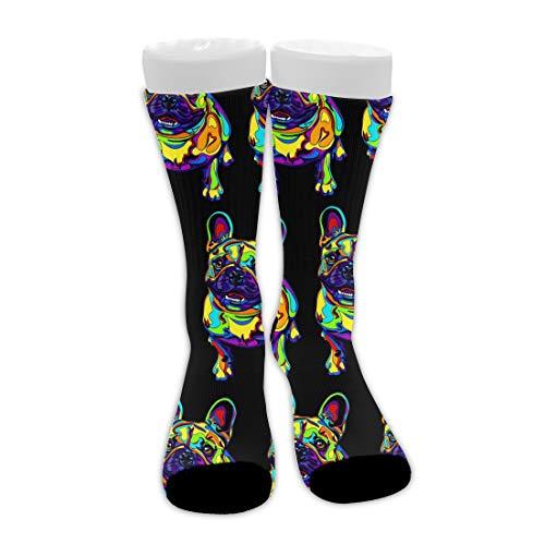 Fashion Crew Dress Socks for Training, Basketball - French Bulldogs Pop Compression Socks Thermal Socks for Kids Teen Boys Mens Womens, Hunting, Athletic Socks