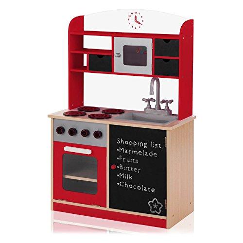 Baby Vivo Cucina Giocattolo per Bambini Gioco in Legno Giocare Educazione Tavola Divertimento Nuovo - Mila in Rosso