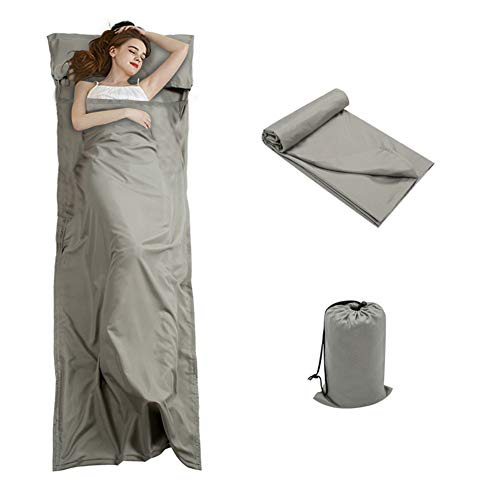 Double Sleeping Bag Inner Liner With Drawstring Bag Anti Allergy Grey Polyester