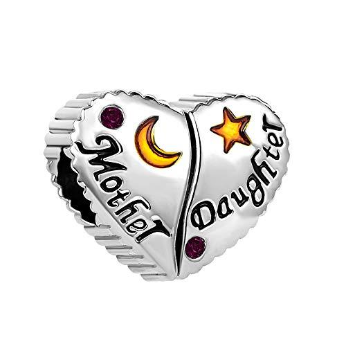 MiniJewelry Women Girls Mum Mother Daughter Moon Star Love Heart Charm for Bracelets fits Pandora Bracelets February Birthday Crystal Birthstones, Purple Amethyst